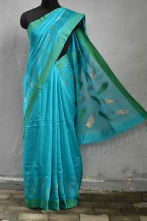 Turquoise and green matka silk sequinned saree 1
