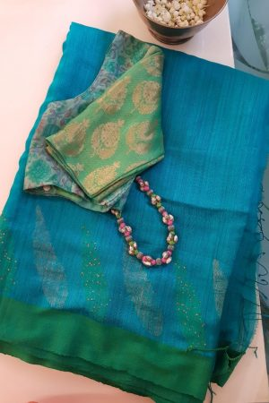 Turquoise and green matka silk sequinned saree