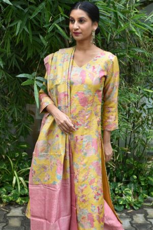 Yellow printed tussar kurta with kantha embroidered dupatta