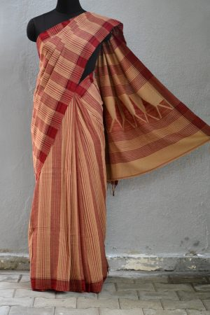 rust and brown handloom khadi saree