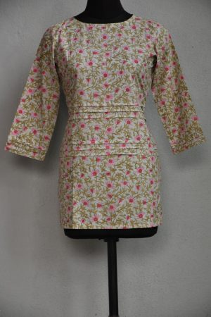 Beige and pink printed cotton tunic