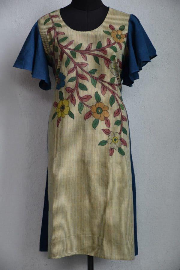 Beige cotton kurta with kalamkari detailing L XL