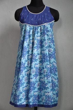 Blue and white sleeveless tunic