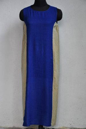 Blue beige pleated sleeveless kurta