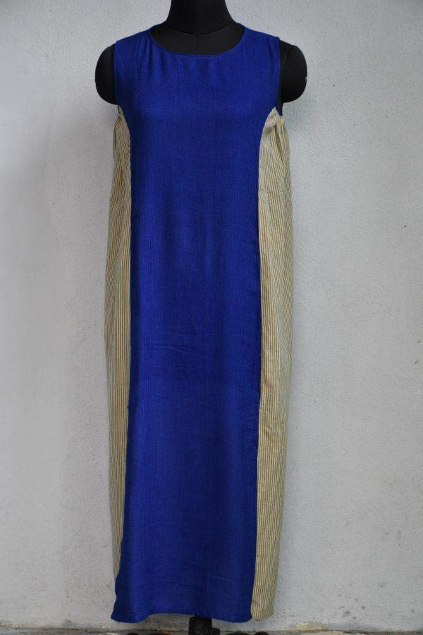 Blue beige pleated sleeveless kurta