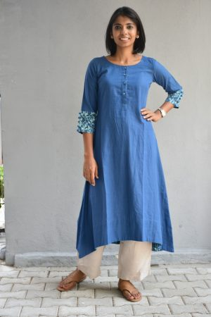 Blue handloom cotton asymmetric kurta
