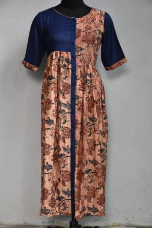 Brown blue pleated cotton kurta