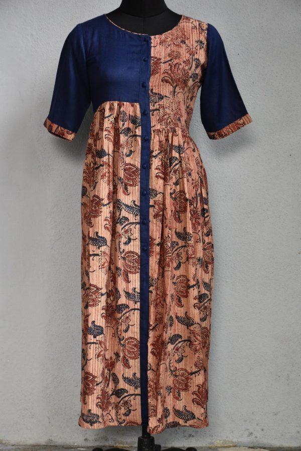Brown blue pleated cotton kurta