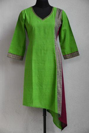 Green magenta asymmetric kurta