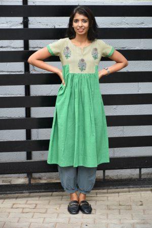 Green pleated cotton kurta