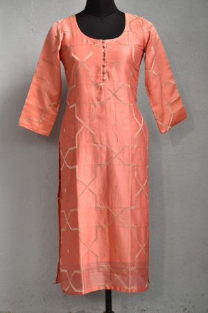 Orange chandheri woven kurta