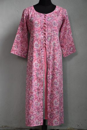 Pink printed cotton mul kurta