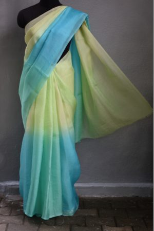 Aqua blue and greeen shaded organza saree