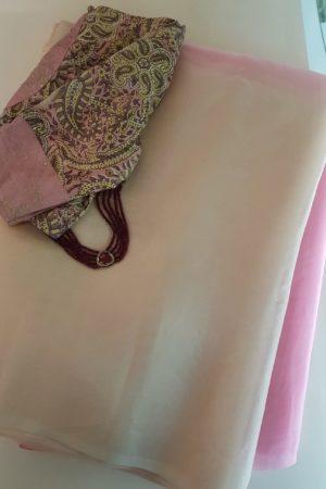 Beige cream shaded organza saree