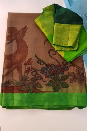 Beige khadi saree with silk border and kalamkari 2