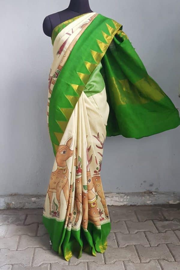 Beige microchecks kanchi silk saree with green korvai border and kalamkari 1