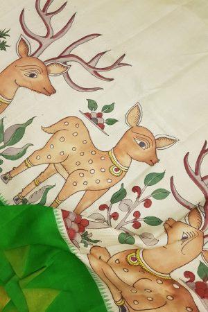 Beige microchecks kanchi silk saree with green korvai border and kalamkari 3