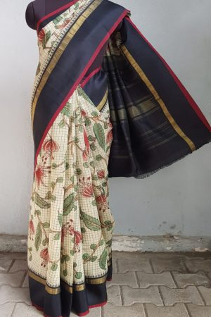 Black and beige checks kanchi silk saree with kalamkari and korvai border 1