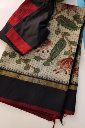 Black and beige checks kanchi silk saree with kalamkari and korvai border