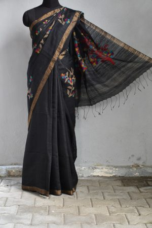 Black jamdani mutka saree