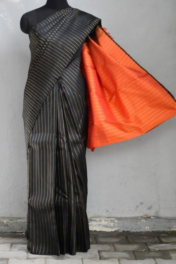 Black vanki design kanchi silk saree 1