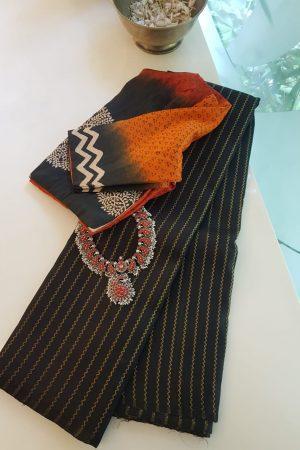 Black vanki design kanchi silk saree