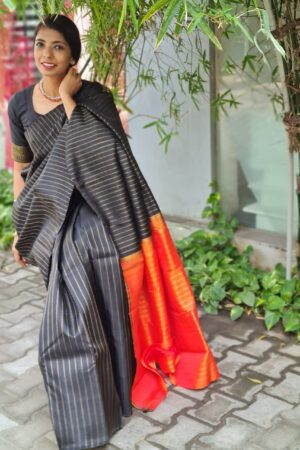 Black vanki with orange pallu