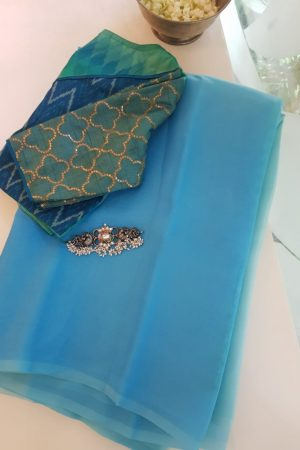 Blue aqua shaded organza saree 1