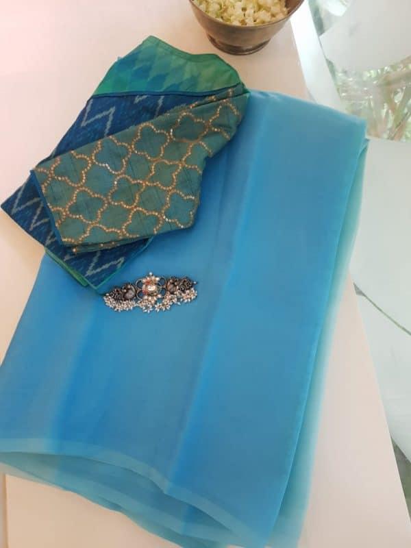 Blue aqua shaded organza saree 1