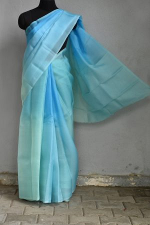 Blue aqua shaded organza saree