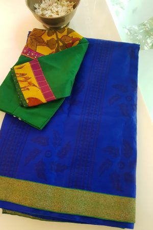 Blue block print organza saree with benaras border