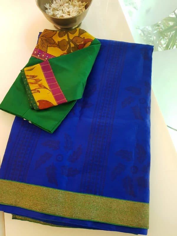 Blue block print organza saree with benaras border