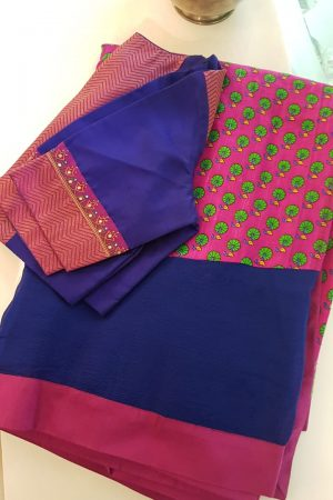 Blue chiffon and pink tussar fusion saree