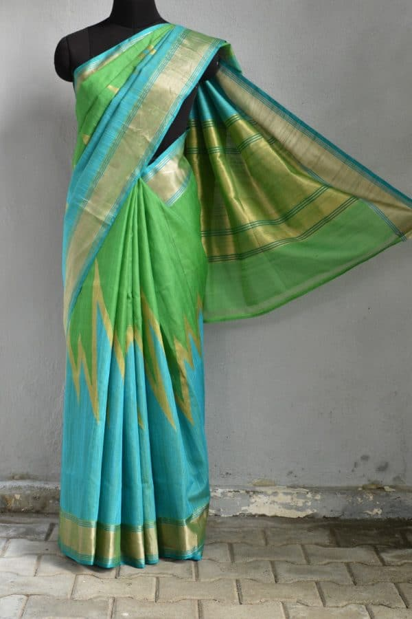 Blue green benarasi silk saree