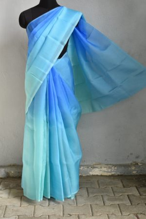 Blue shaded organza saree 1