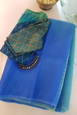 Blue shaded organza saree