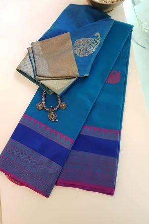 Blue zero zari kanchi silk saree