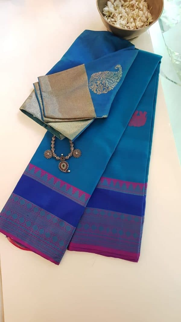 Blue zero zari kanchi silk saree