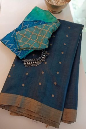 Bluish grey butta handloom kosa saree 1