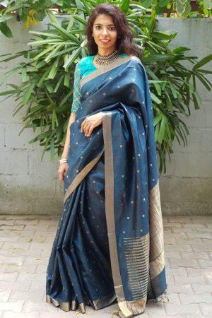 Bluish grey butta handloom kosa saree