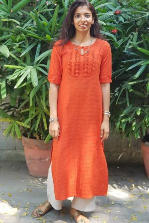 Bright orange ikat kurta 1