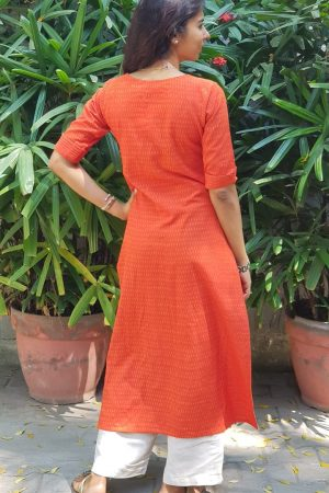 Bright orange ikat kurta