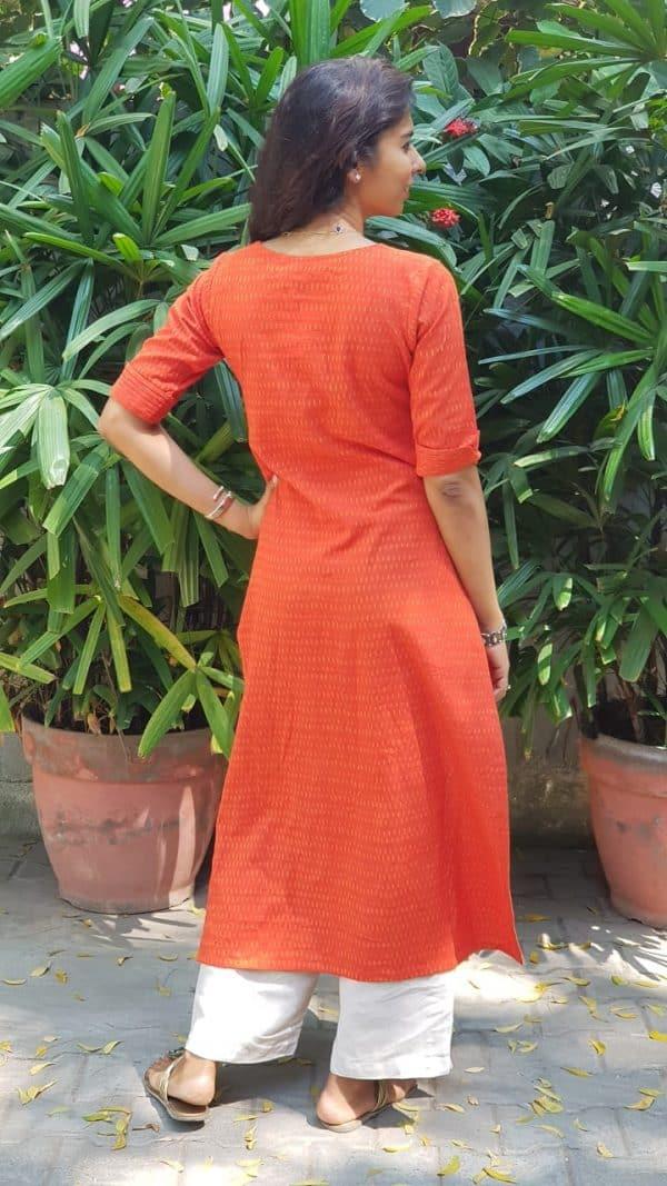Bright orange ikat kurta