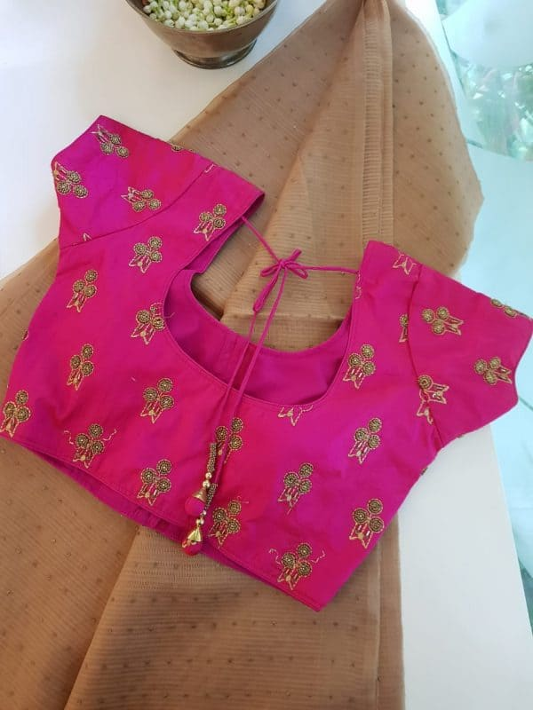 Bright pink beaded raw silk blouse