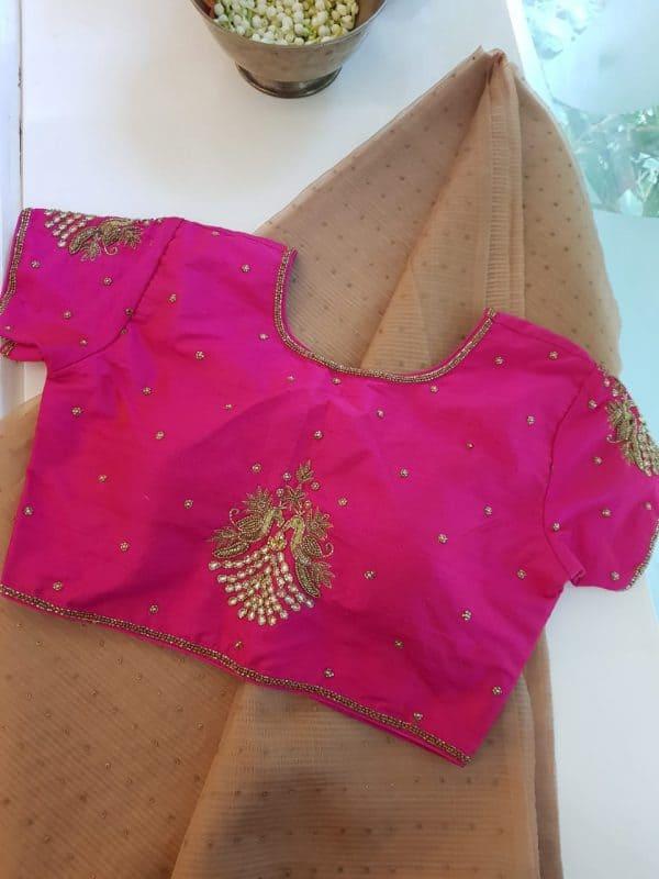 Bright pink raw silk blouse back