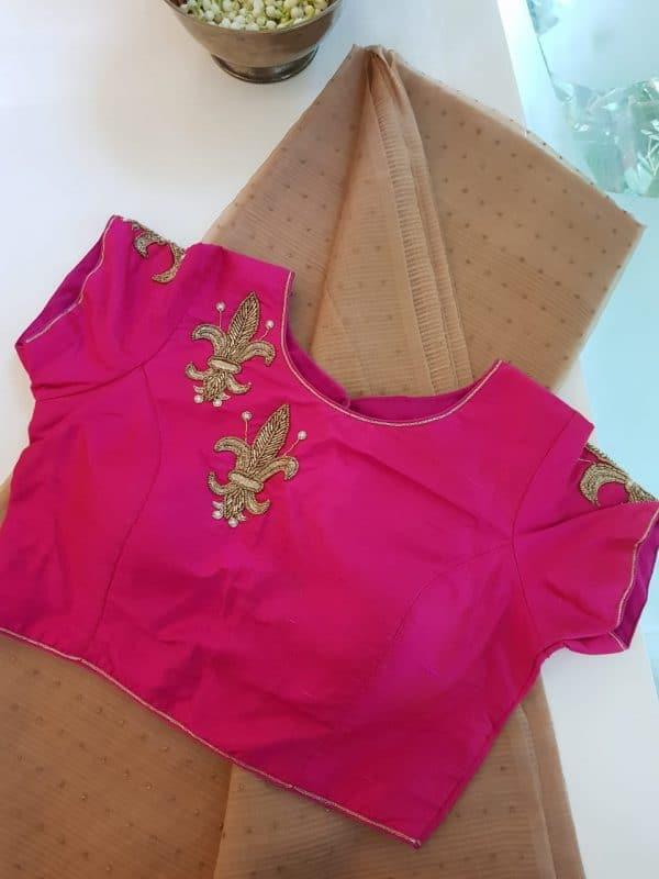Bright pink shoulder design raw silk blouse