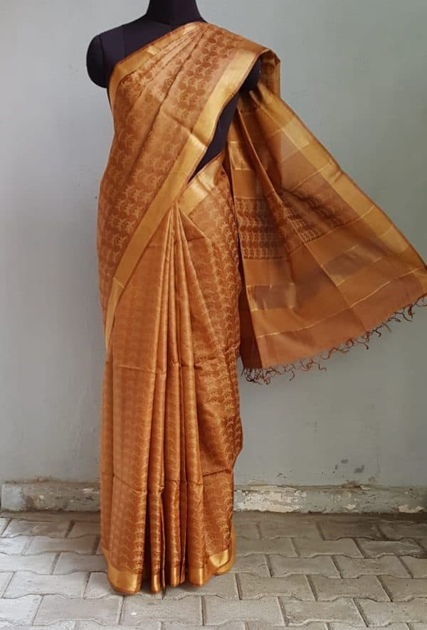 Brown handloom tussar saree 1