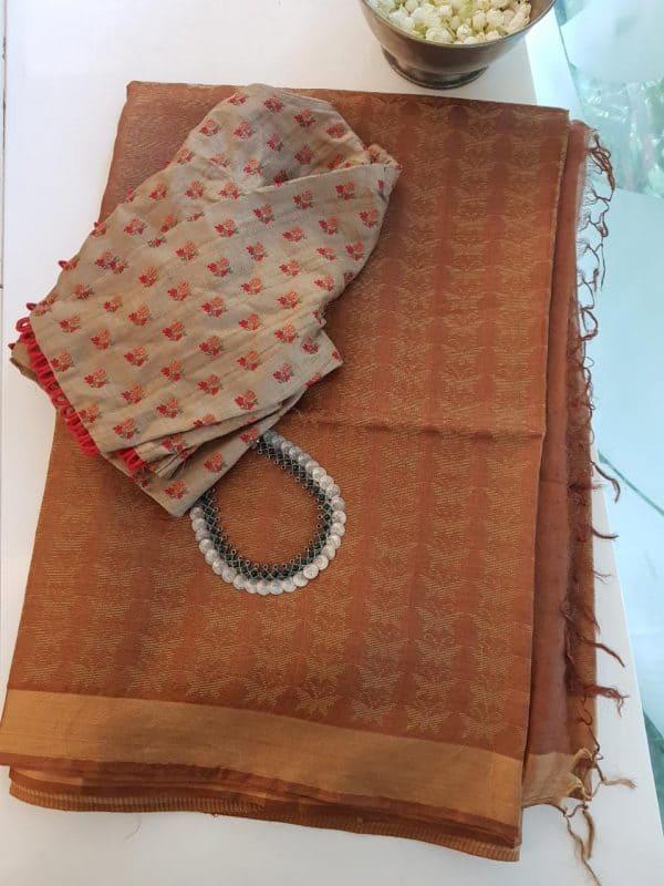Brown handloom tussar saree