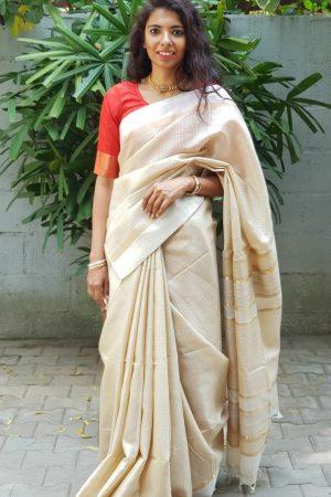 Cream handloom tussar saree