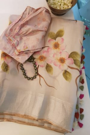 Cream organza hand painted saree 1